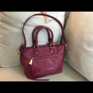 Aimee Kestenberg leather satchel/ crosssbody wine